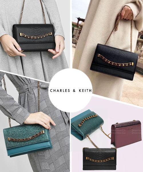★新加坡正品CHARLES & KEITH★迷人金屬鍊磁扣手拿肩背包 (3色)