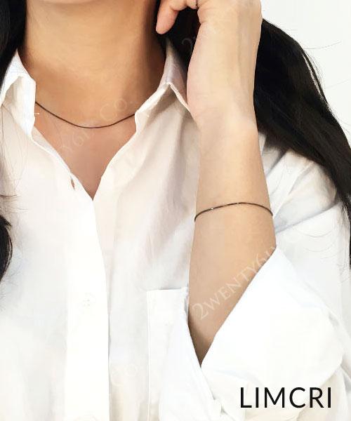 ★韓國正品Limcri★《金秘書為何那樣》朴敏英~微笑秘書同款-925純銀Black Silk黑絲綢手鍊