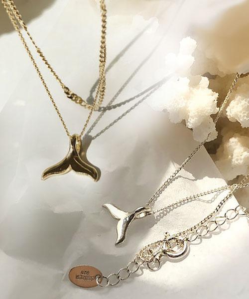 ★韓國正品Limcri★(爆款)Dolphin 925純銀 海豚的思念 魚尾吊墜雙鍊 (2色)
