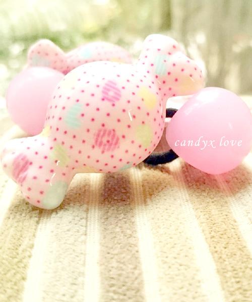 ★正韓★超萌可愛造型糖果拼candy x love果凍球甜美髮飾 (一對)