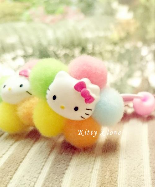 ★正韓★超萌可愛造型羊毛氈Kitty x love 甜美彩球髮飾 (一對)