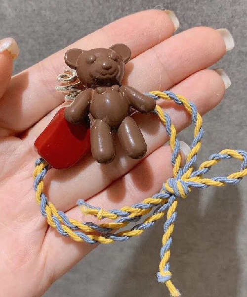 ★正韓★Sweet Bear Candy俏皮可愛立體熊熊糖果雙圈螺旋金屬字髮圈 (3色)