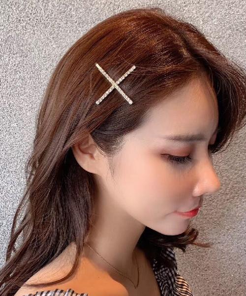 ★正韓★Diamond Shine 時尚氣質閃耀排列十字水鑽一字髮夾