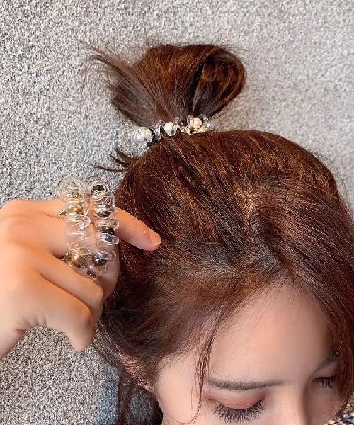 ★正韓★Forever Charm個性金屬鐵牌鐵球環繞扭轉透明彈性髮圈 (一組3入)