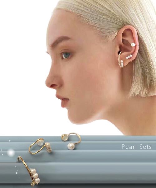 ★正韓★Pearl Sets 氣質優雅 質感金屬珍珠系列 三件組耳環(耳釘/耳夾)