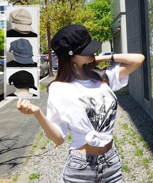 ★正韓★SIMPLICITY 時尚街頭壓紋硬幣雙繩索文青海軍帽 (3色)