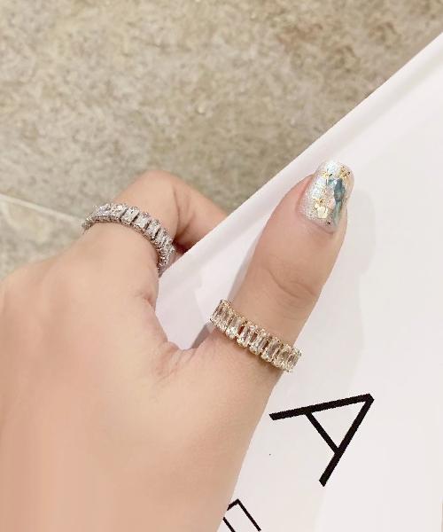 ★正韓★Genuine Crystal 時尚精緻長形水鑽切割串接 鬆緊戒指 (2色)