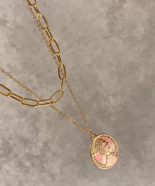 ★正韓★COIN Queen 時尚個性 造型粗細雙圈 硬幣項鍊