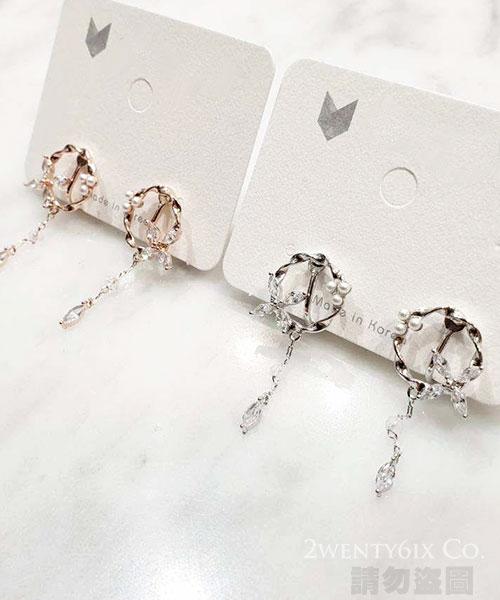 ★正韓設計師款《獨家耳夾式》★Cross Crystal 時尚閃耀鏤空十字水鑽珍珠耳環 (2色)
