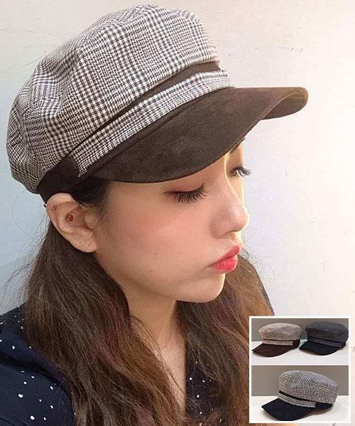 ★正韓★IG爆款Vintage Plaid復刻版撞色格紋硬帽沿八角帽 (3色)