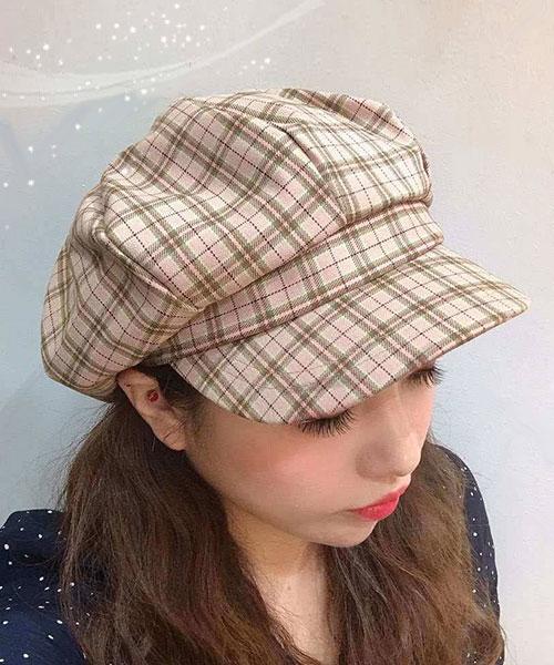 ★正韓★IG爆款PlaidOCTA可愛復古撞色格紋弧度硬帽沿八角帽 (3色)