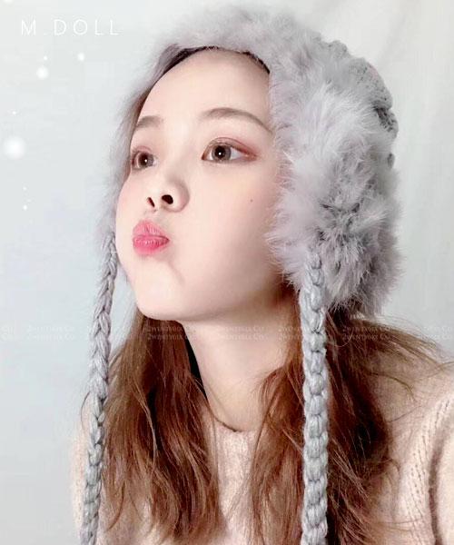 ★韓國★M.Doll★韓國醉心搶手甜美兔毛毛球針織帽 (四色)(附包裝盒)