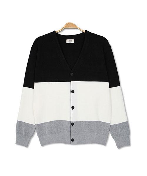 ★正韓★Cardigan Block NU 時尚休閒羊毛排扣開衫上衣 (男/女)(2色)(L~3XL)