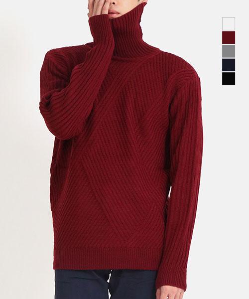 ★正韓★Carlin Man休閒時尚高領斜壓紋針織上衣 (5色)
