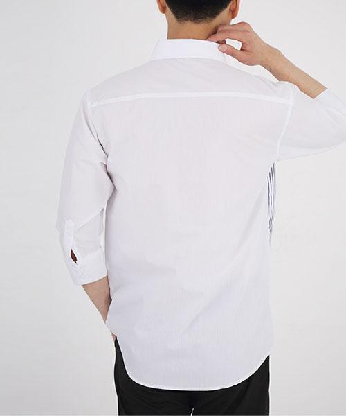 ★正韓★STRIPE DP 時尚個性條紋拼色翻領純棉七分袖襯衫(2色)(M~XL)