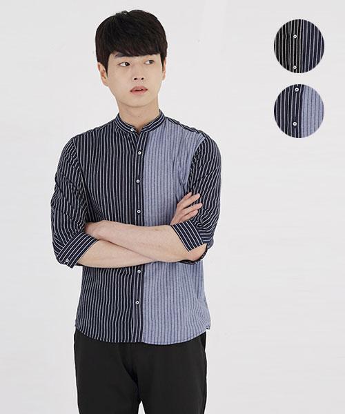 ★韓系★STRIPE SQS時尚個性直條紋立領七分袖排扣襯衫(2色)(M-4XL)