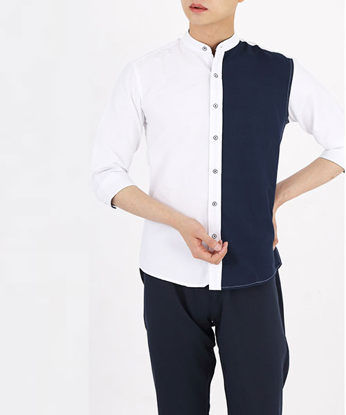 ★韓系★DUO TUNE時尚個性簡約撞色立領七分袖排扣襯衫 (M-4XL)