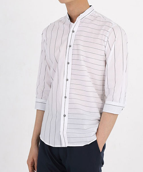 ★韓系★GEOLINES 時尚個性簡約線條立領七分袖排扣襯衫(M-4XL)
