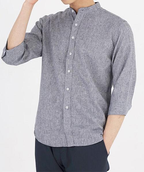 ★正韓★BOKA時尚個性簡約素面立領七分袖排扣襯衫(M-4XL)