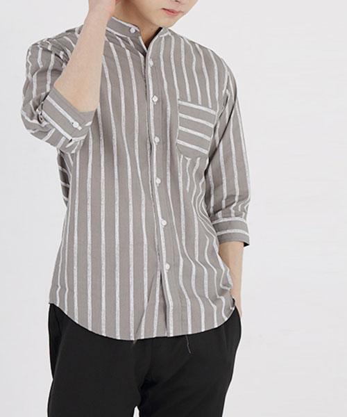 ★正韓★BRUSH STROKE 時尚個性 刷色印刷 立領七分袖排扣襯衫(3色)(M-4XL)