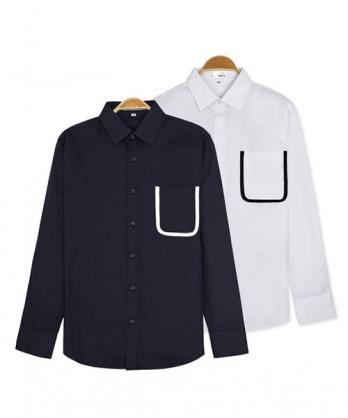 ★正韓★PROEST 時尚個性造型撞色口袋翻領排扣純棉長袖襯衫 (2色)(M-XL)