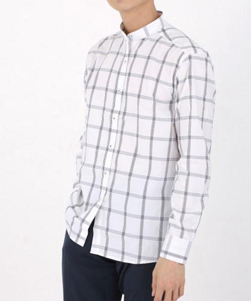 ★正韓★TRINITY時尚簡約線條格紋 翻領排扣 立領襯衫(M-4XL)