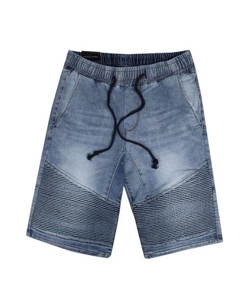 ★正韓★Banding BJ 時尚率性刷色造型鬆緊束繩口袋高棉牛仔短褲 (#28-#34)