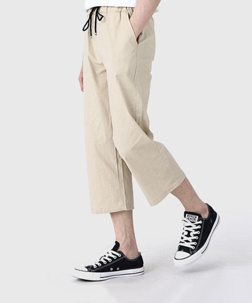 ★韓系★LINEN BJ 率性休閒 亞麻寬鬆舒適抽繩雅痞八分褲 (4色)(S-XL)