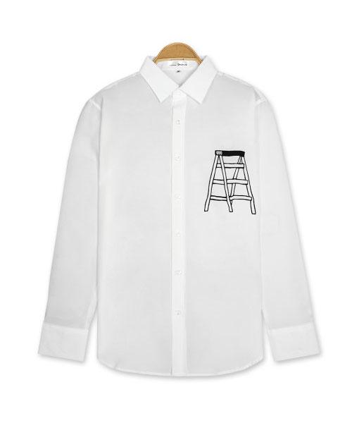 ★正韓★LADDER WT 時尚率性質感造型印刷翻領排扣長袖襯衫 (M-XL)