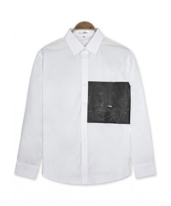 ★正韓★NC Station 時尚個性質感印刷翻領排扣 純棉長袖襯衫 (M-XL)