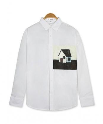 ★正韓★NC House 時尚個性質感印刷翻領排扣純棉長袖襯衫 (M-XL)