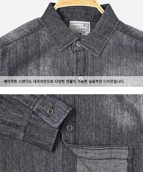 ★韓系★BLK DENIM 時尚個性深灰牛仔刷色口袋翻領長袖襯衫