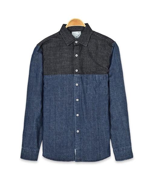 ★韓系★YTH DENIM 時尚個性拼色牛仔口袋翻領長袖襯衫