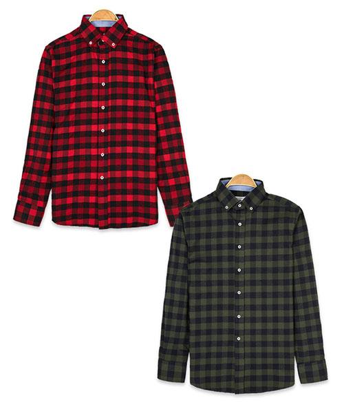 ★韓系★SouthernIsland個性復古格紋翻領排扣長袖襯衫 (2色)(M-4XL)