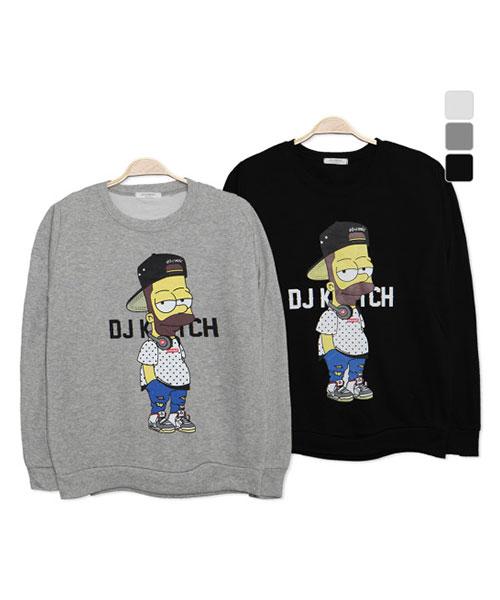 ★正韓★嘻哈Simpsons休閒俏皮圖像玩味印刷圓領長袖T恤 (2色)