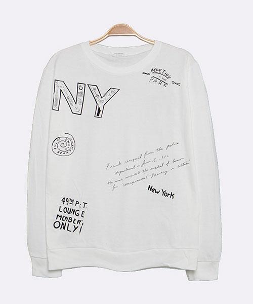 ★正韓★NY 個性休閒 造型塗鴉 內拉絨 圓領長袖T恤 (3色)