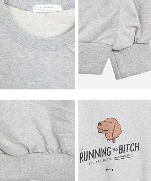 ★正韓★Running Bitch 個性休閒玩味造型塗鴉圓領長袖T恤 (3色)