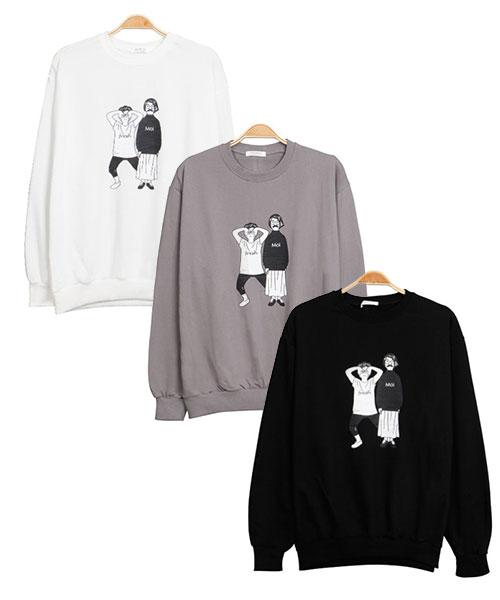 ★正韓★Fresh Moi 個性休閒 玩味造型印刷純棉圓領長袖T恤 (三色)