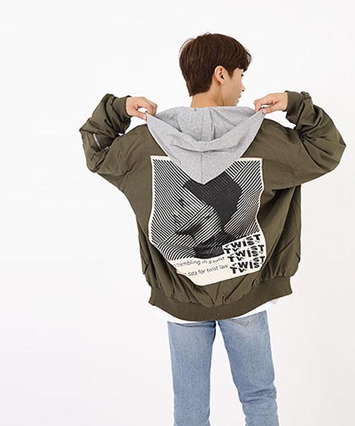 ★正韓★TWIST CT 時尚個性獨特印刷可拆卸連帽輕量拉鍊防風外套 (2色)