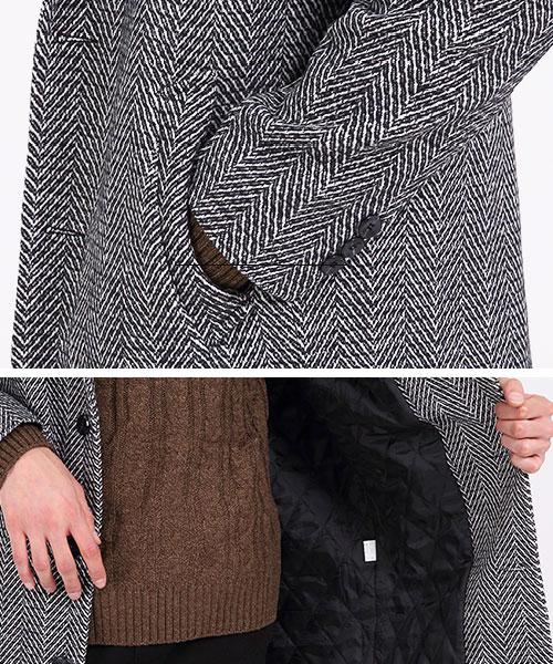 ★正韓★Greg Wool 質感人字紋羊毛防風長版翻領西裝外套(2色)(M-XL)
