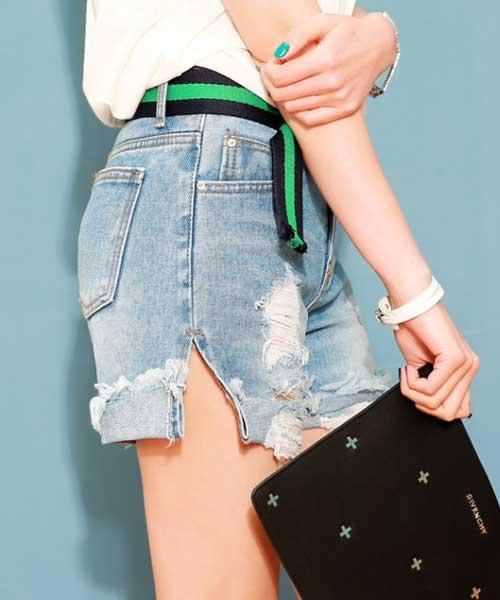 ★正韓★率性美型單品 刷破抽鬚 反摺 純棉單寧牛仔短褲 (現貨 #30)