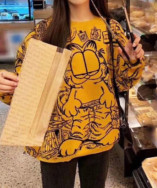 ★正韓★(激推輕薄顯瘦毛衣)Garfield Top時尚可愛加菲貓線條魅力長袖上衣 (2色)