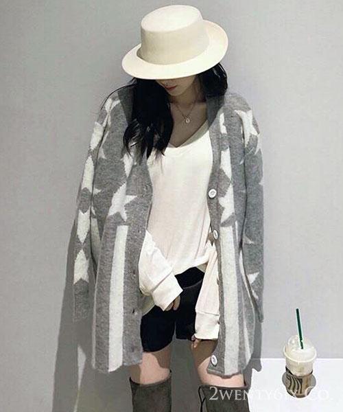 ★正韓★AC Stars 時尚氣質 甜美星星條紋外套