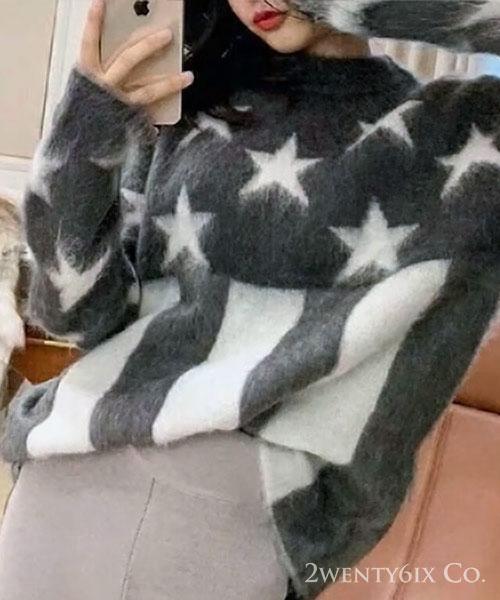 ★正韓★AC Stars 時尚氣質 甜美星星條紋長版上衣