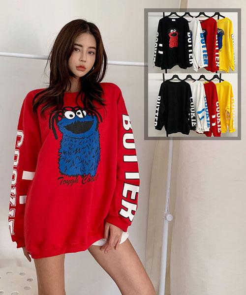 ★正韓★Cookie Monster餅乾怪獸超萌帥氣純棉雙袖印刷寬鬆上衣 (4色)
