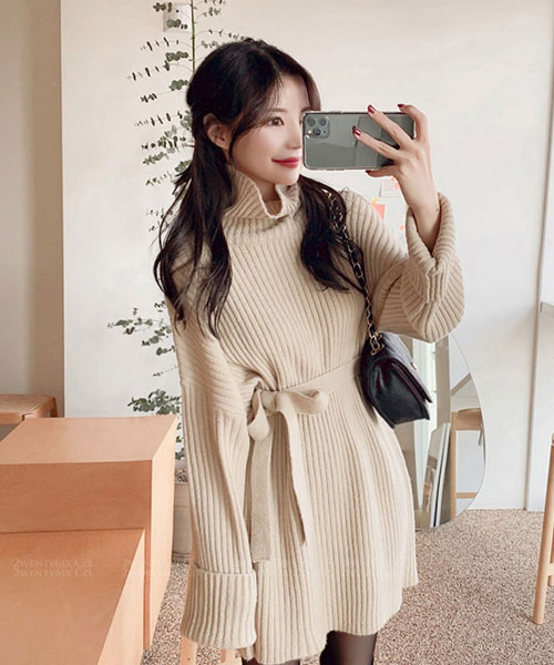 ★韓系★JellyFit 休閒質感高領針織綁帶連衣裙(三色)