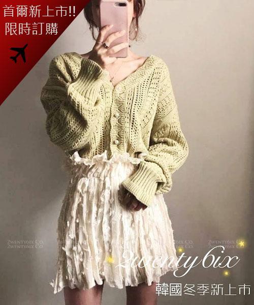 ★韓國★Adela 氣質優雅 珍珠扣 鏤空雕花針織排扣外套 (兩色)