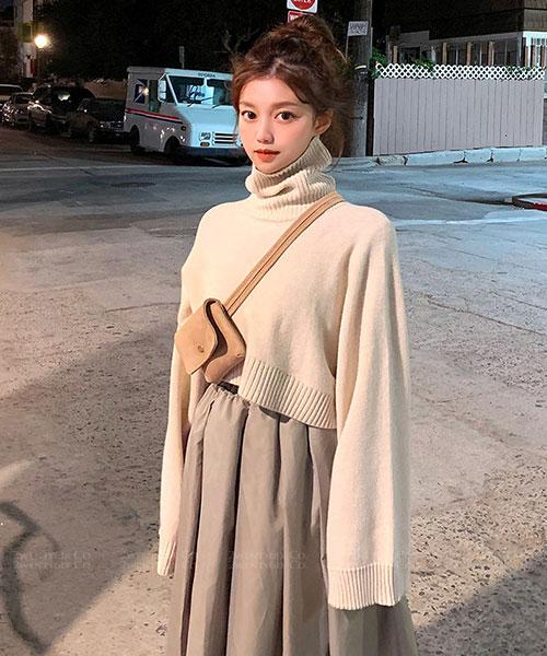 ★韓系Polar SKNIT★時尚休閒 短版高領寬袖羊毛混紡上衣 (五色)
