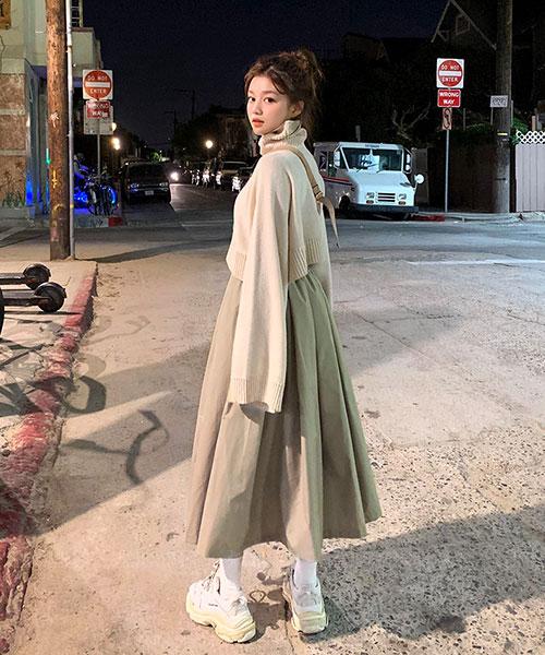★韓系Polar Skirt ★ 時尚休閒 個性純色鬆緊長裙(兩色)