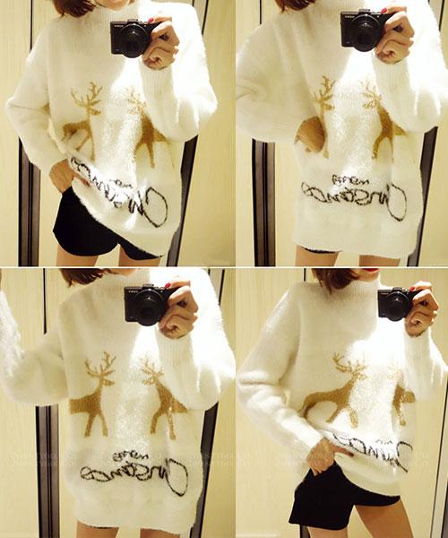 ★正韓Sweet Reindeer★甜美閃耀雪白馴鹿針織上衣